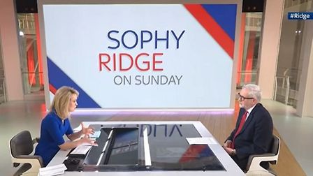 Jeremy Corbyn is interviewed by Sky News' Sophy Ridge. Photograph: Sky.