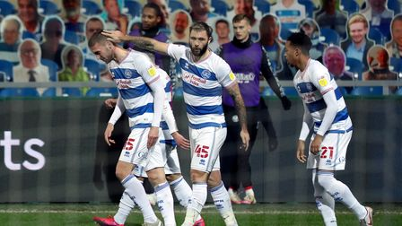 Queens Park Rangers' Sam Field (left) celebrates scoring their side's first goal of the game during