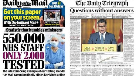 Most critical front pages of the day came from the Daily Mail and Daily Telegraph. Photograph: Twitt