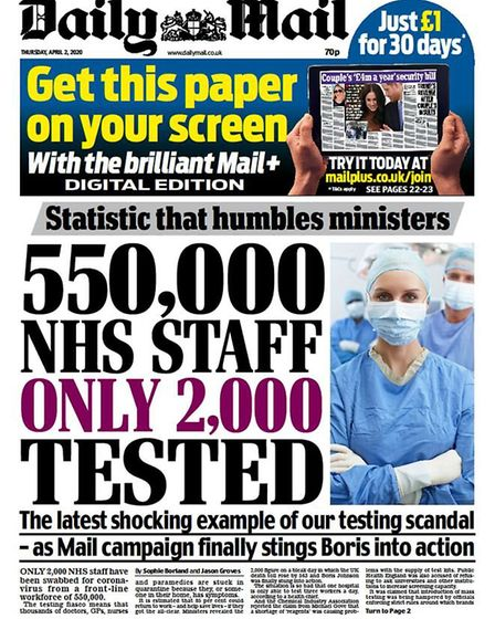 The front cover of the Daily Mail newspaper. Photograph: Twitter.
