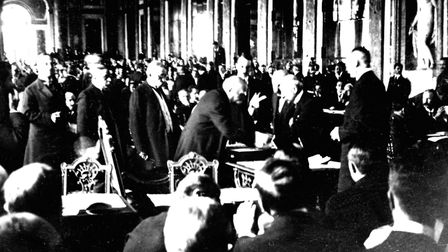French prime minister Clemenceau signing the Treaty of Versailles, June 1919, France. Picture: Getty