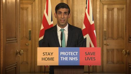 Chancellor Rishi Sunak speaks during a media briefing in Downing Street, London. Photograph: PA Vide