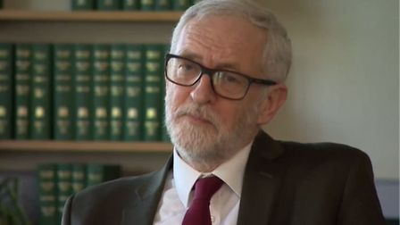 Jeremy Corbyn is interviewed by the BBC ahead of his last week as Labour leader. Photograph: BBC.