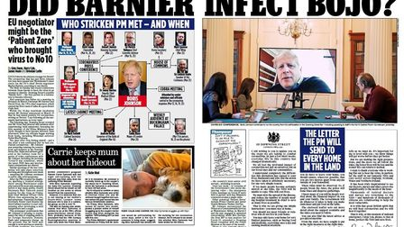 The Mail on Sunday's report on whether Michel Barnier infected Boris Johnson with the coronavirus. P