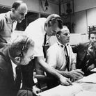 Space Center, Houston: Doinald K. Slayton (L-sitting), Director, Flight Crew Operations and astronau
