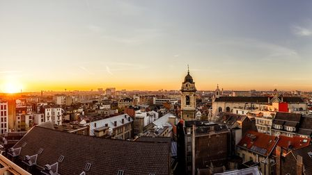 The landscape of Brussels at sunset. Photograph: Getty Images/Westend61.