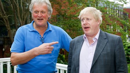 Tim Martin, chairman of JD Wetherspoon Plc, left, and Boris Johnson on the Vote Leave campaign trail