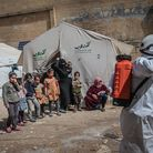IDLIB, SYRIA - MARCH 24: Members of the Syrian Civil Defence (White Helmets) disinfect buildings an