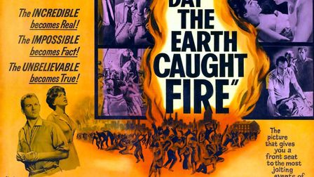 The Day The Earth Caught Fire, poster, bottom l-r: Edward Judd, Janet Munro, right: Leo McKern in co