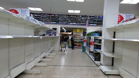 Panic buying has led to empty shelves in supermarkets. Photograph: Sherif El-Alfy/Archant.