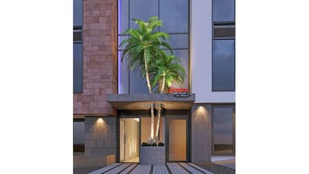 The entrance to Hampton by Hilton Hotel with two-storey tall palm tree growing up through entrance canopy