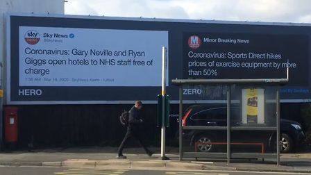 """One of the Led By Donkeys billboard campaigns which compares coronavirus """"heroes"""" and """"zeroes"""". Phot"""