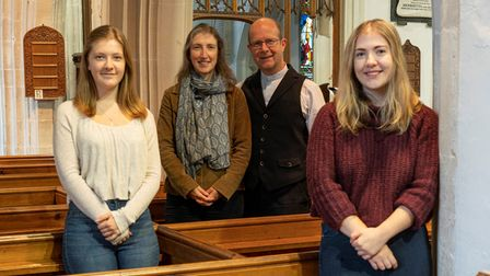 Reverend Jeremy Trew, wife Alison and daughters Rachel and Eleanor