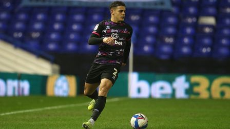 Max Aarons of Norwich in action during the Sky Bet Championship match at St Andrews, Birmingham