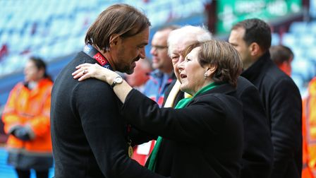 Norwich City manager Daniel Farke celebrates with Norwich City Joint Majority Shareholder Delia Smit