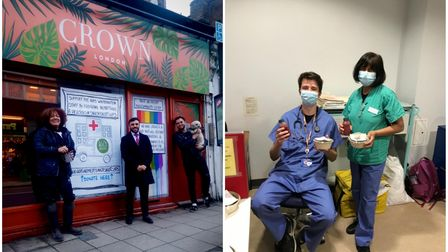 Crouch End traders outside Crown London (left) and Whittington staff with their donations
