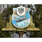 The Welcome to Lowestoft sign.