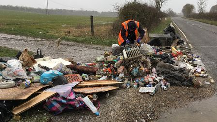 Flytippers dump mound of rubbish on B1046