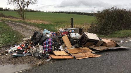 Flytippers dump rubbish on B1046