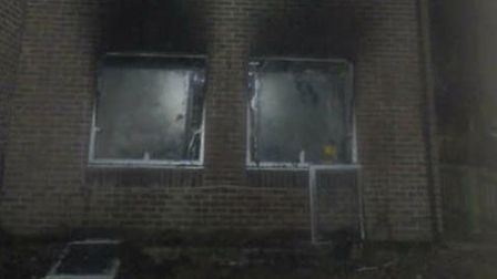 Fire damage on the front of a house in Caspian Walk, Beckton.