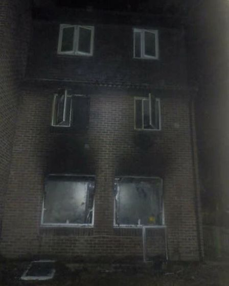 Fire damage to the front of an end-of-terrace house in Caspian Walk, Beckton.