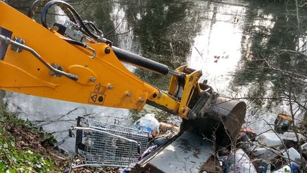 Digger at Alderman Canal in Ipswich