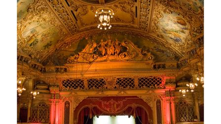 """The opulent Tower Ballroom was designed by Frank Matcham in 1899. Above the stage reads""""Bid me discourse, I will enchant thine ear"""" a line from William Shakespeare's poem Venus and Adonis."""