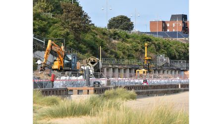 Work is continuing to demolish the concrete beach chalets on Jubilee Parade in Lowestoft. Pictures: