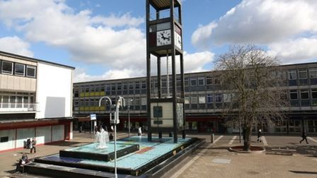 Stevenage clock tower and fountain