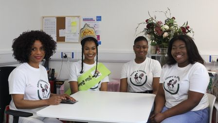 Ruffina Adimora (left) with the reigning Miss Adanma Esther Chizobam Jacob, along with Jane and Mirian - also participants...