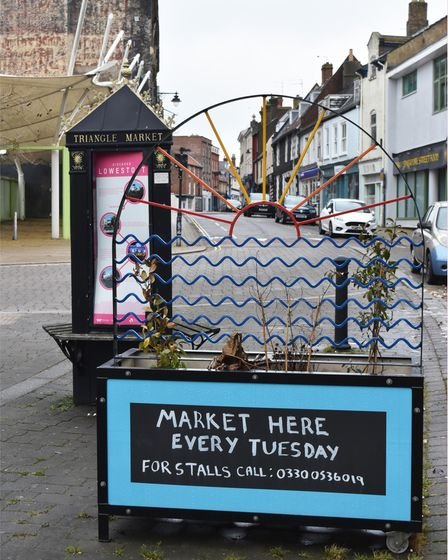The historic Triangle Market in Lowestoft High Street.