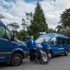 TRIP service user Mary Pullen, centre, withtrustee and volunteer driver Steve Brownridge and Sharon Thorne, TRIP's deputy manager
