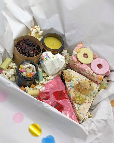 The birthday box from Biddy's Tea Room is packed with retro goodies.
