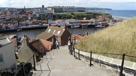 The famous 199 steps that lead up to the Church of St. Mary in Whitby