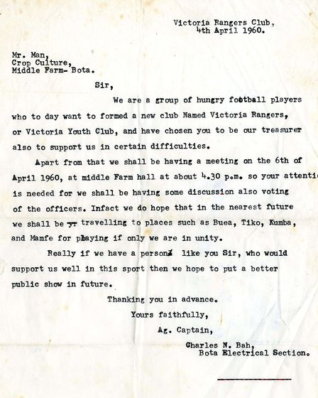 The letter from Victoria Rangers.