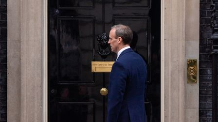 Foreign secretary Dominic Raab arrives in Downing Street. Photograph: Dominic Lipinski/PA Wire.