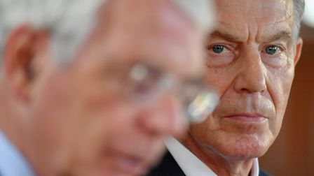 Former prime ministers Sir John Major (left) and Tony Blair share a platform for the Remain campaign