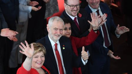 (left to right) Emily Thornberry, Jeremy Corbyn, Andrew Gwynne and Keir Starmer kick off the Labour