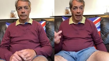 Nigel Farage appears on a Facebook Live in short shorts. Photograph: Facebook.