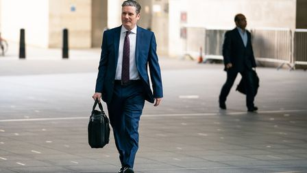 Newly-elected Labour leader Sir Keir Starmer arrives at BBC Broadcasting House. Photograph: Aaron Ch