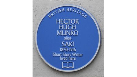 Picture of blue plaque for writer Hector Munro