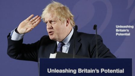 Boris Johnson delivers his Unleashing Britain's Potential speech in the Painted Hall, Old Royal Nava