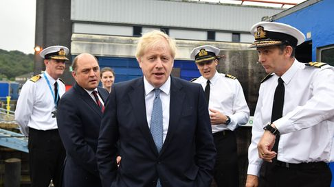 Archive photograph of Boris Johnson visiting HMS Victorious with Defence Secretary Ben Wallace