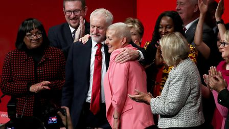 Jeremy Corbyn is joined by Jennie Formby, general secretary of the Labour Party, at a party conference. Photograph: Gareth...