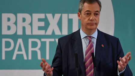 Brexit Party leader Nigel Farage gives a speech during a general election campaign visit. (Photo by
