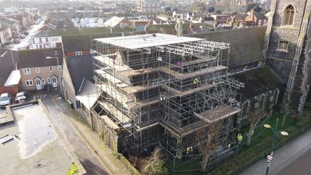 Restoration work St Mary's Great Yarmouth