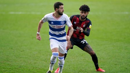 QPR's Yoann Barbet and Bournemouth's Philip Billing battle for the ball