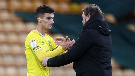 Dimitris Giannoulis of Norwich and Norwich Head Coach Daniel Farke at the end of the Sky Bet Champio
