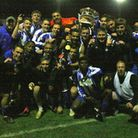 Clevedon Town celebrate winning the Southern League Cup in 2012