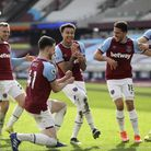 West Ham United's Jesse Lingard (third left) celebrates scoring their second goal of the game with t